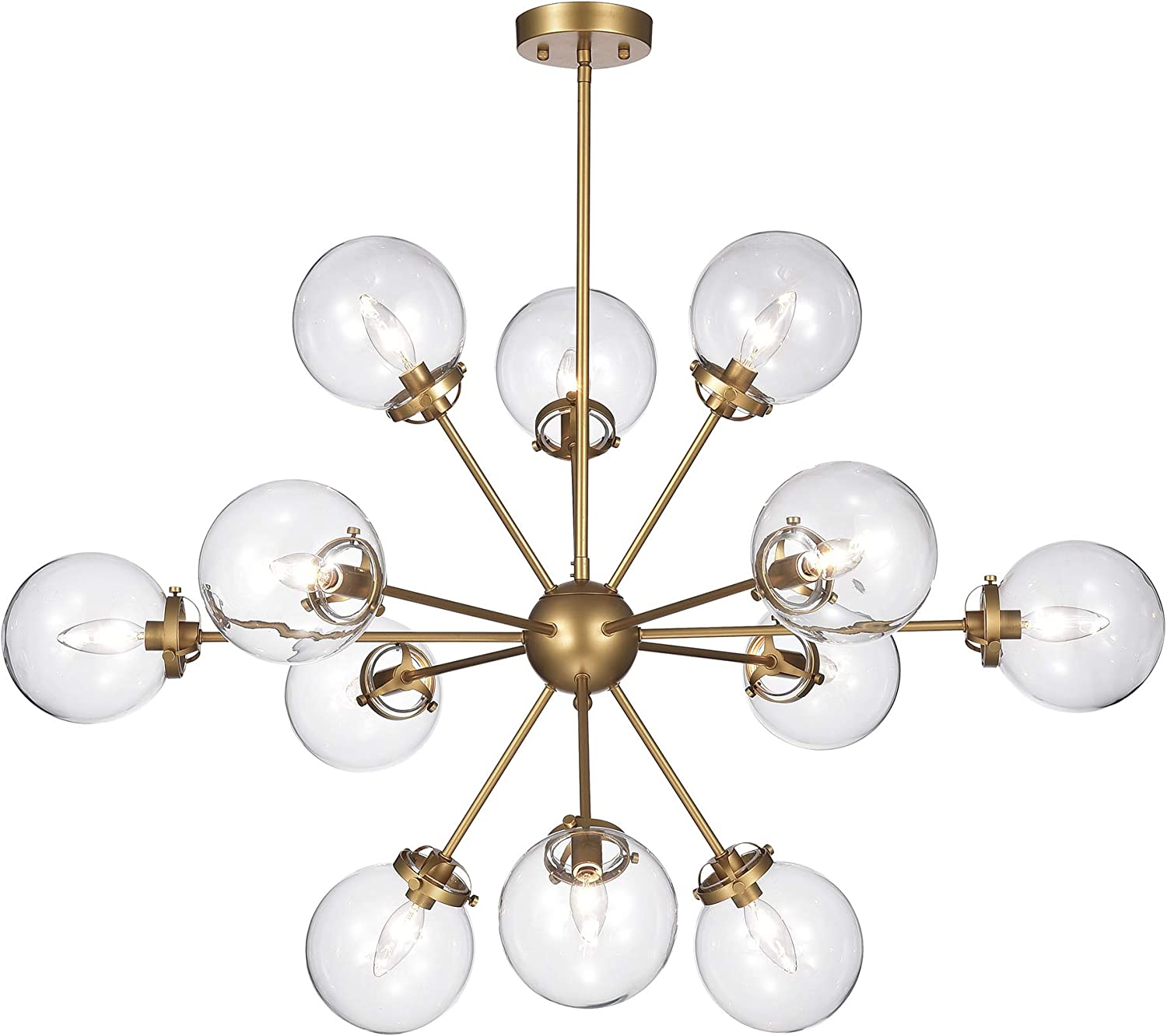 Warehouse Of Tiffany Hm108 12 Masakee 12 Light Gold Sputnik Style Glass Sphere Shades Chandelier Yellow Amazon Com