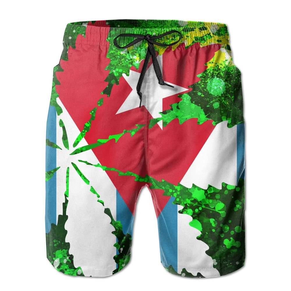 Newest - Man's Swim Summer Quick Dry Board Shorts - Cuba Flag Leaf Weed