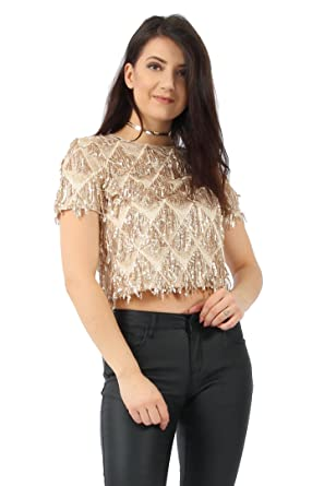 9828149dc45 Missi London New Womens Ladies Tassel Gold Sequin Crop Top (14)   Amazon.co.uk  Clothing