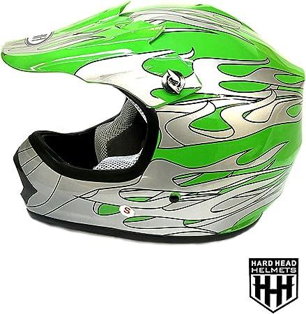 Amazon Com Smartdealsnow Dot Youth Kids Helmet For Dirtbike Atv Motocross Mx Offroad Motorcyle Street Bike Flat Matte Black Helmet Small Green Flame Automotive