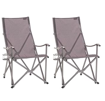 (2) COLEMAN Ergonomic Patio Lawn Outdoor Sling Camping Folding Chairs W/ Bag