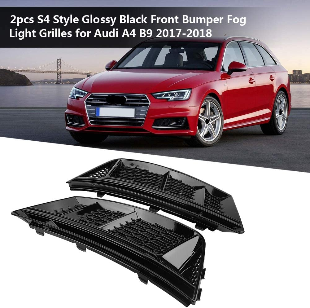 KIMISS Fog Light Grilles,2pcs for S4 Style Glossy Black Front Bumper Fog Light Grilles for A4 B9 2017-2018