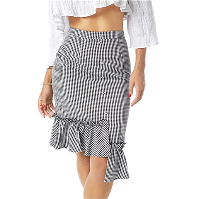 a262a91881 Sville Mary Women Ruffle Button Asymmetrical Skirt Female Summer Beach  Party Skirt at Amazon Women s Clothing store