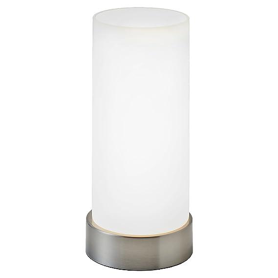 Lámpara de mesa I Lámpara de mesa de noche I Regulable en 4 niveles diferentes de luminosidad I Blanca I Forma cilíndrica I Pantalla cromada I Casquillo E14 ...