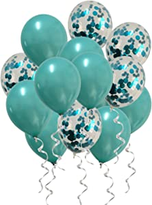 Metallic Teal Balloons Confetti Turquoise Balloons for Baby Shower Birthday Wedding Engagement Party Decorations