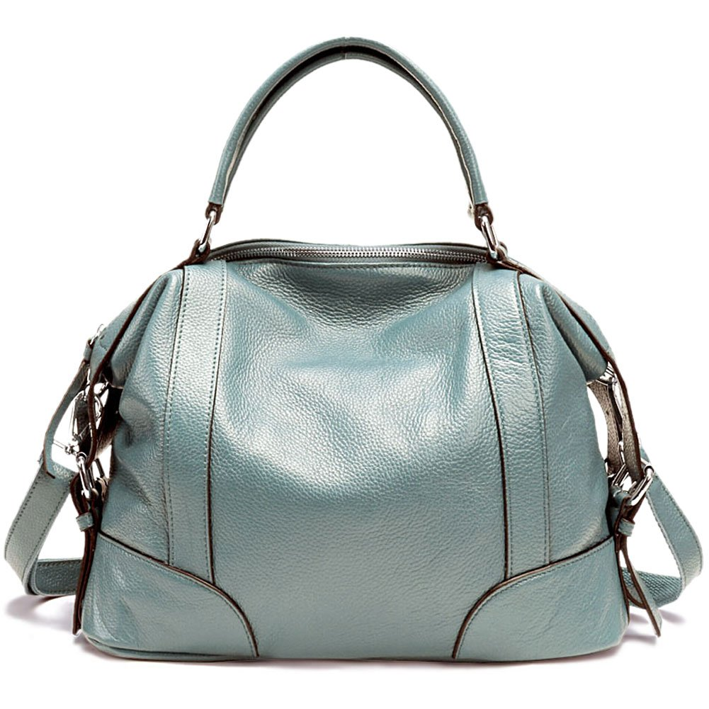 Vintga Genuine Leather Tote Bag Top Handle Satchel Handbag Shoulder Bag Large Purse Crossbody Bag for Women (Small, Lake Blue) by Vintga
