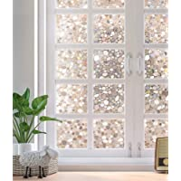 Rabbitgoo Static Cling Decorative Window Films,Stain Glass Window Film UV Block Heat Control,Privacy Window Film 3D Pebble Glass Film for Home Kitchen Bedroom