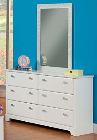 Sandberg Furniture Hailey  Drawer Dresser With Mirror White