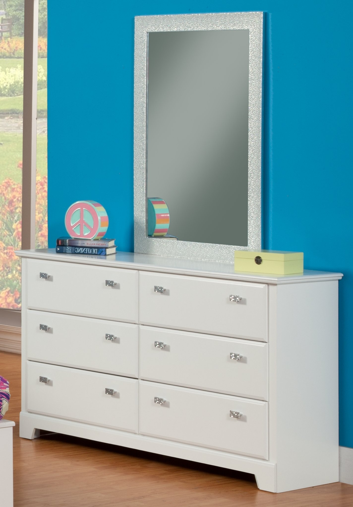 Sandberg Furniture Hailey 6-Drawer Dresser with Mirror, White