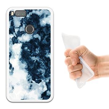 WoowCase Funda Xiaomi Mi A1, [Xiaomi Mi A1 ] Funda Silicona Gel Flexible Mármol Blanco y Azul, Carcasa Case TPU Silicona - Transparente