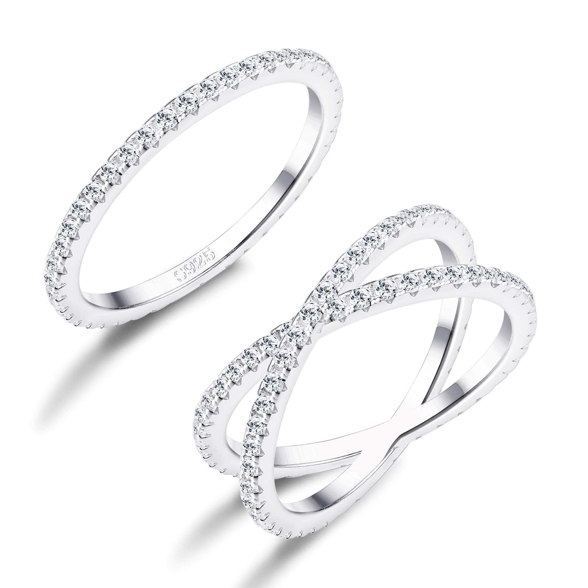FUNRUN JEWELRY 2 PCS Sterling Silver Cubic Zirconia Rings Set for Women X Ring CZ Wedding Band Rings Stackable Size 8