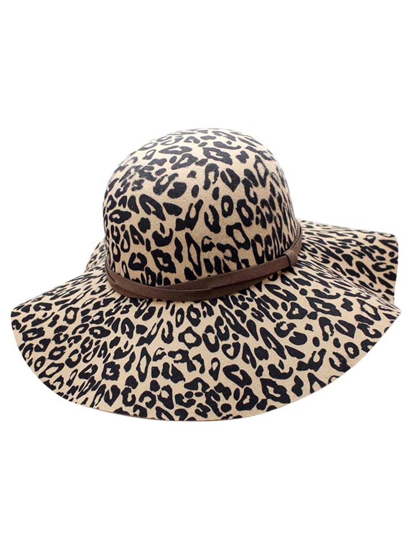 8f8646c3695c5 Luxury Divas Beige Leopard Print Wool Floppy Hat at Amazon Women s Clothing  store