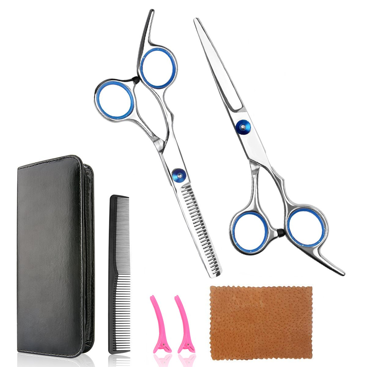 Hair Cutting Scissors Barber Shears Set Professional Razor Straight Edge Thinning Texturizing Hair 6.0'' Stainless Steel Scissors Shears Kit Silver (Blue Ring)