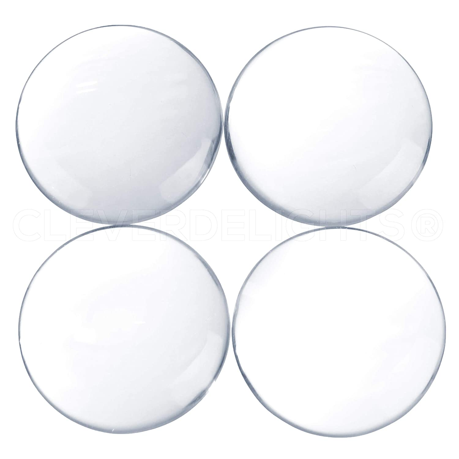 CleverDelights 10 40mm Round Glass Cabochons - 1 9/16' Inch - Clear Magnifying Cabs - Dome Pendant Cab - for Cameo Pendants, Photo Jewelry, Rings, Necklaces RoundCab-40mm-10