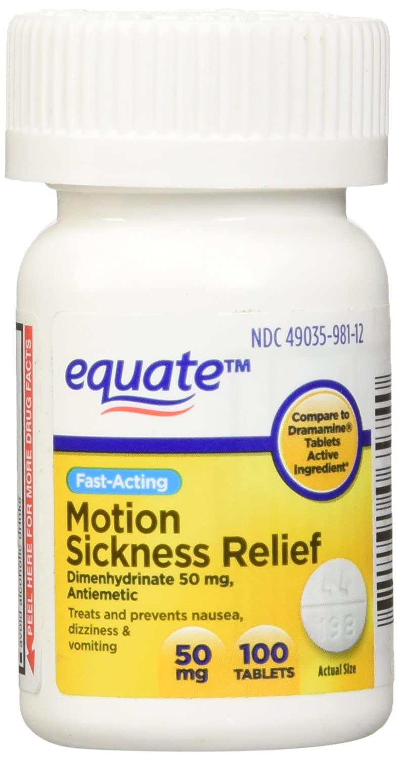 Equate Motion Sickness 50 Mg 100 Tablets (Compare To Dramamine) (1) by Equate