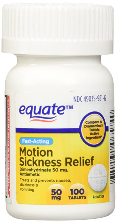 Equate - Motion Sickness 50 mg, 100 Tablets Anti-Vomiting/Nausea (Compare  to Dramamine) by Equate