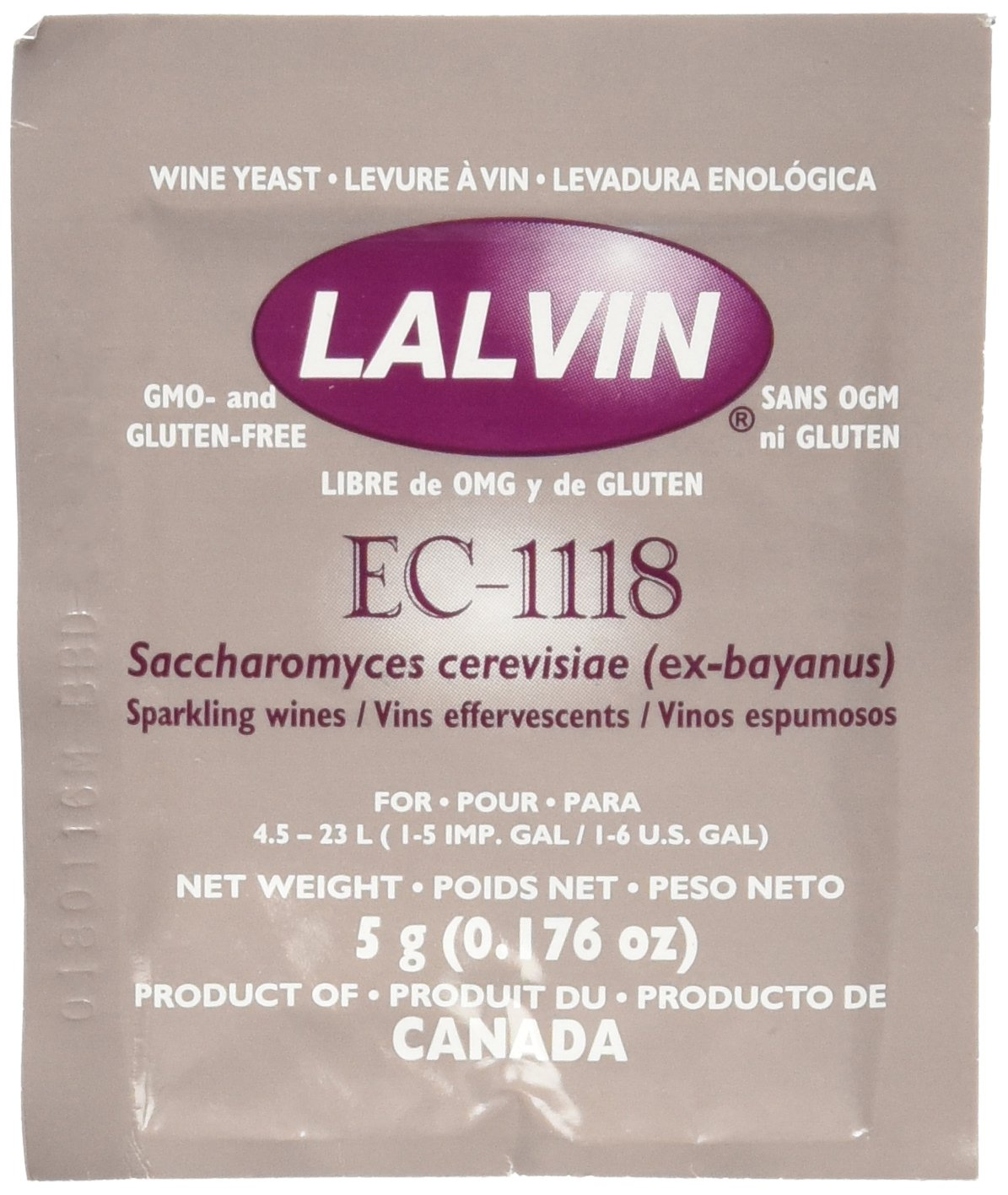 Lalvin Dried Wine Yeast EC #1118 (Pack of 10)