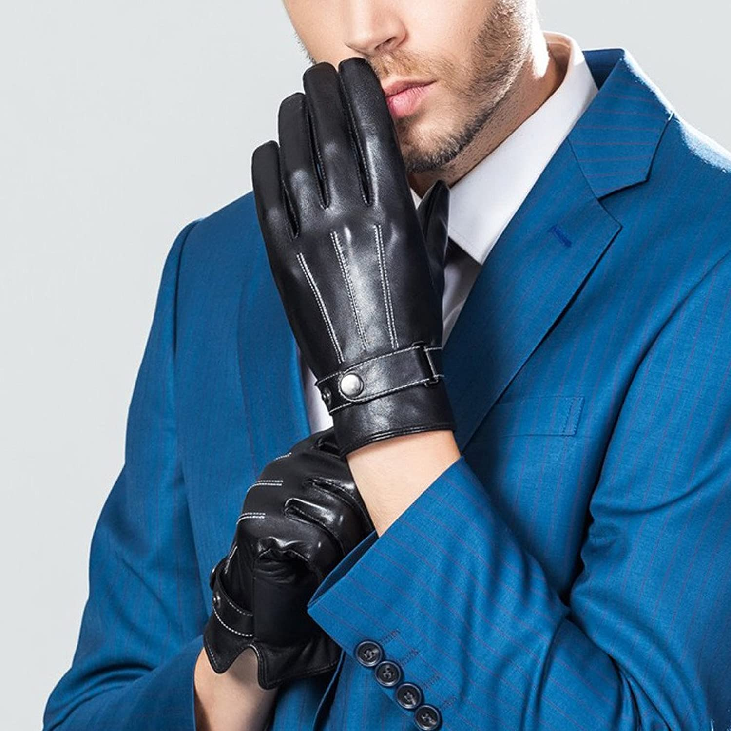 Leather gloves mens amazon - Casf Men S Warm Lambskin Genuine Leather Gloves For Men Winter Driving Black S At Amazon Men S Clothing Store