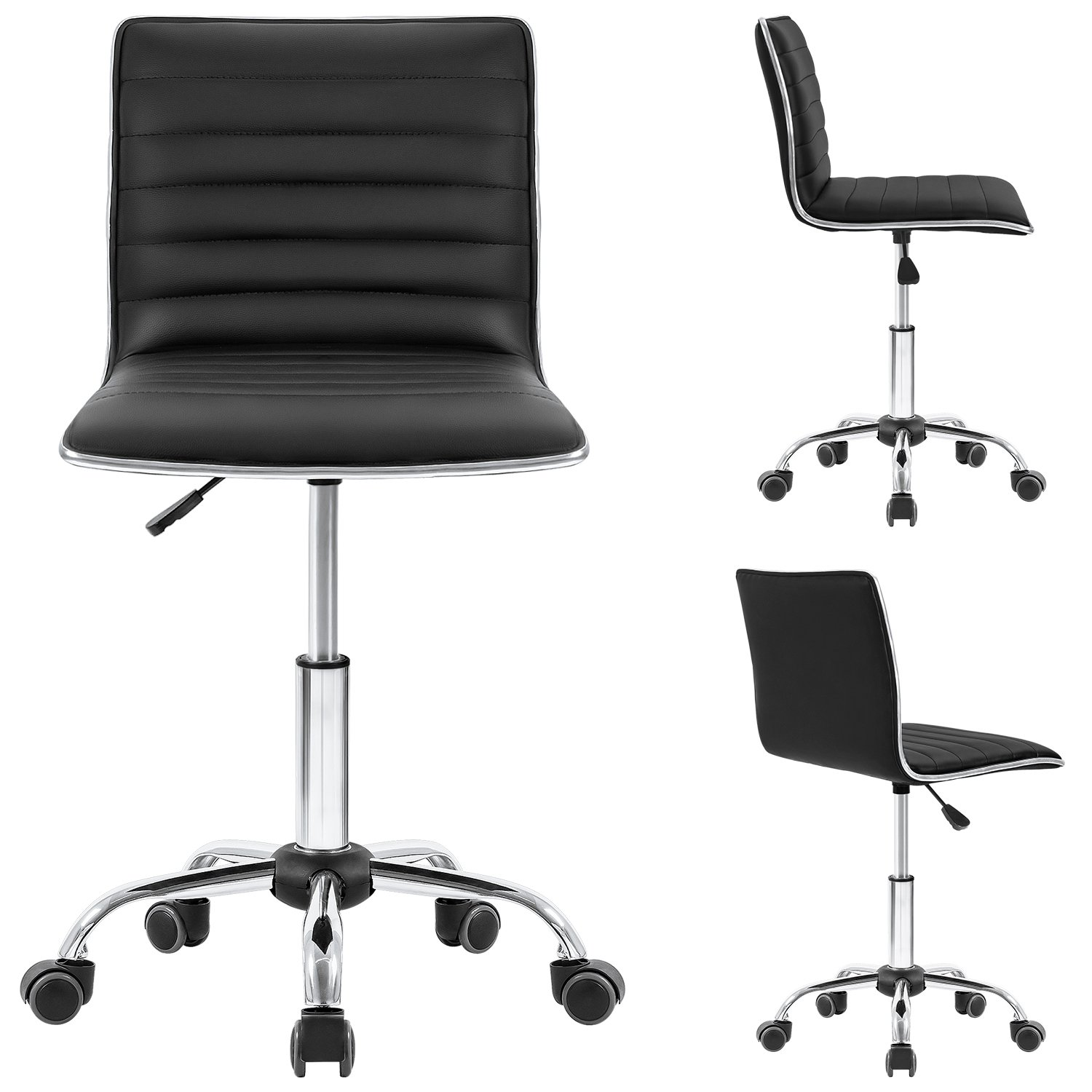 Homall Modern Adjustable Low Back Armless Ribbed Task Chair Office Chair Desk Chair, Vanity Chair Swivel Rolling Leather Computer Chairs Conference Chair Black