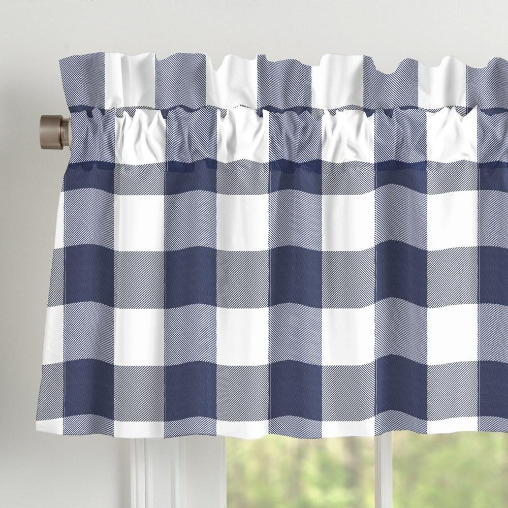 Carousel Designs Navy and White Buffalo Check Window Valance Rod Pocket