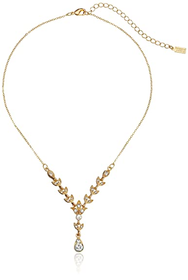 Vintage Style Jewelry, Retro Jewelry Downton Abbey Boxed Gold-Tone Crystal Y-Shaped Necklace $22.58 AT vintagedancer.com
