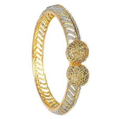 bfd1a41f36e Cardinal Traditional American Diamond Gold Plated Antique Bangle Bracelet Kada  Latest Design Jewellery for Women Girl  Amazon.in  Jewellery