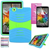 """LG G Pad 3 8.0 /G Pad X 8.0 Case, EpicGadget(TM) V520/V521/V522/V525 Heavy Duty Hybrid Cover Case with Full Protection For LG Gpad X 8.0"""" / Gpad 3 8.0"""" + Screen Protector and 1 Stylus (Blue/Green)"""