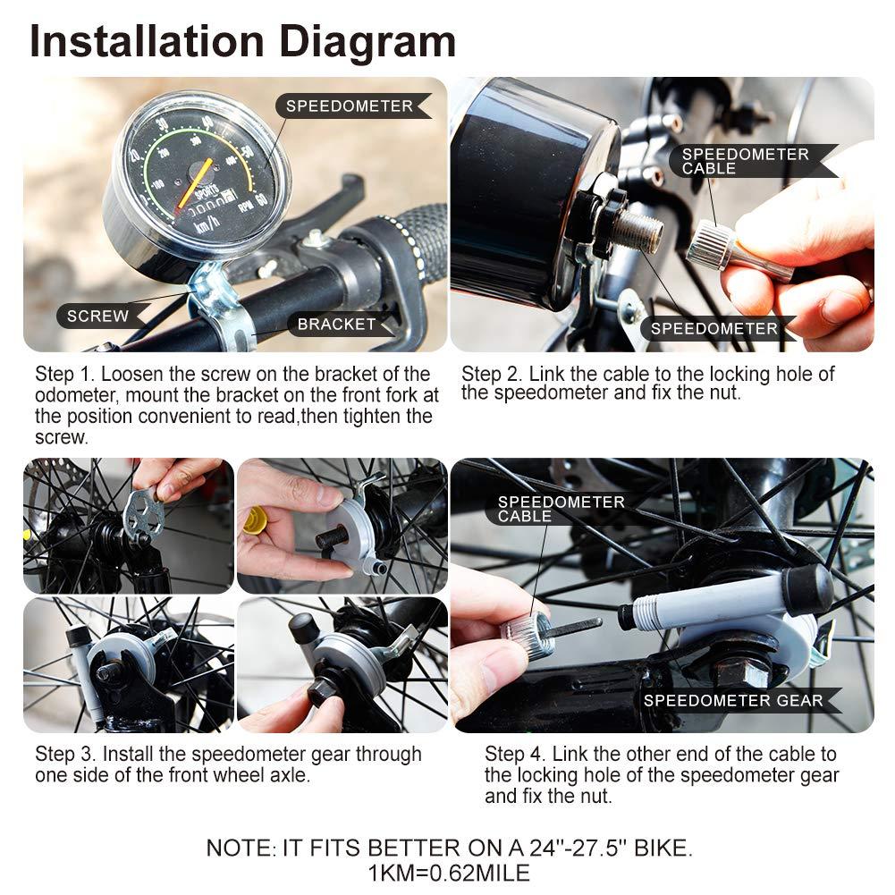 Vintage Style Bicycle Bike Speedometer Analog Classic Mechanical Odometer