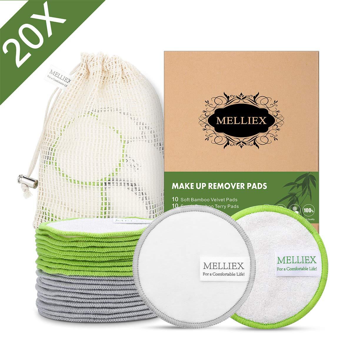20pcs Tampons D/émaquillants Lavables en Bambou Fibre Disques Coton Demaquillant de Visage avec Sac /à Lessive