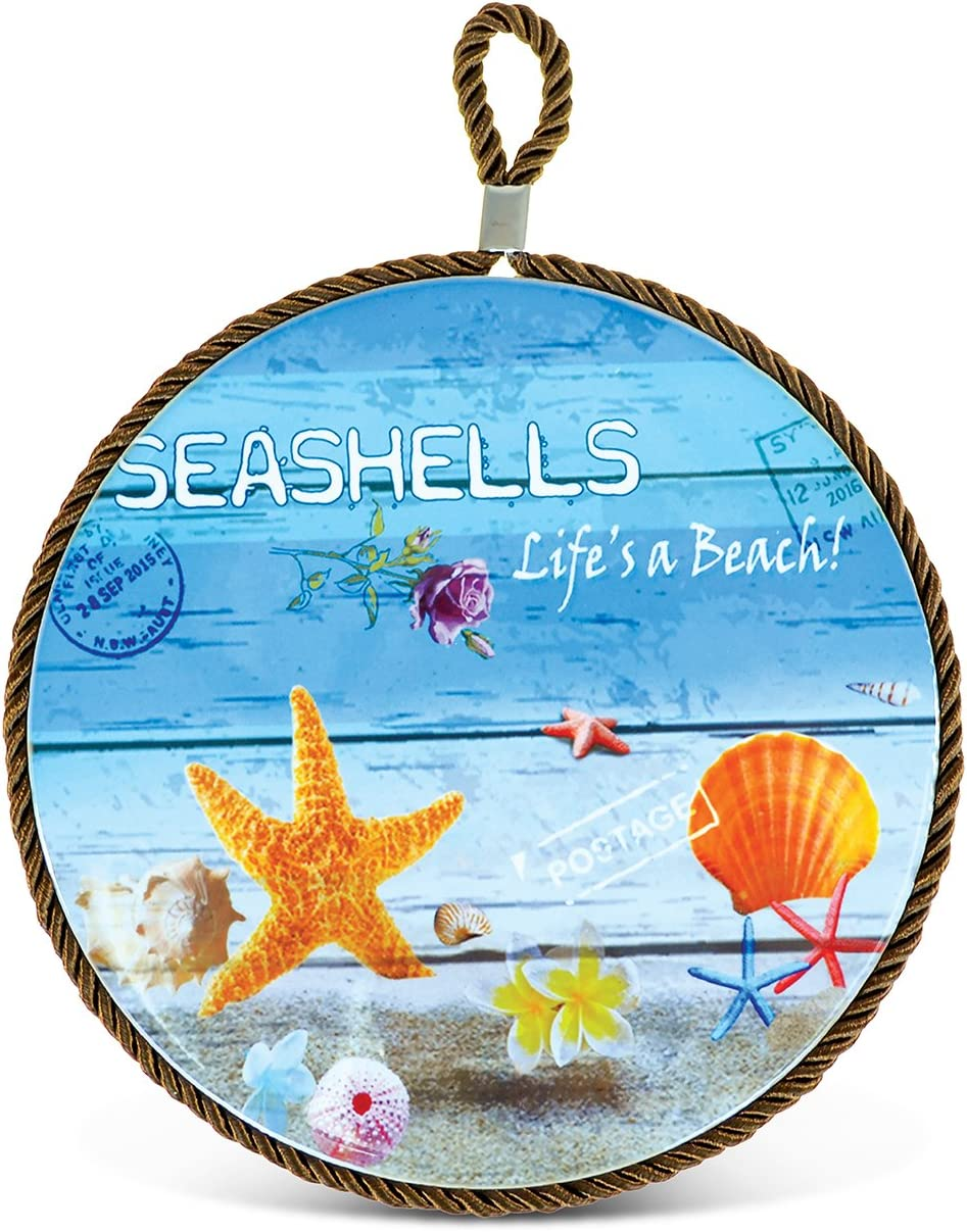 Puzzled Ceramic Pot Holder Seashells Life S A Beach 0 25 Inch Thick Intricate Meticulous Detailing Art Handcrafted Pan Coasters Hot Pad Heat Trivet Ocean Sea Life Themed Home Kitchen Accessory Home Kitchen Amazon Com