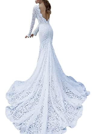 YASIOU Hochzeitskleid Damen Langarm Elegant Lang Weiß Prinzessin ...