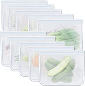10 Pack Clear Quart Freezer Bags, Zipper Reusable Food Storage Bag for Sandwich Meat Fruits Vegetables, 8.46 x 7.28 inches