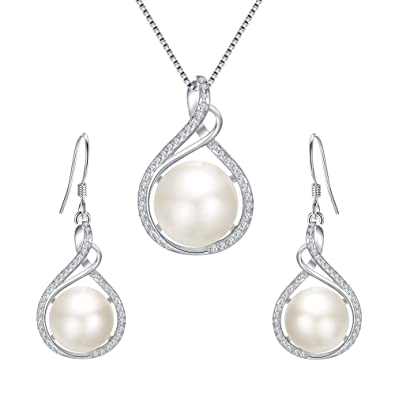 d08338f6f Clearine Women's 925 Sterling Silver CZ Cream Freshwater Cultured Pearl  Infinity Pendant Necklace Hook Earrings Set