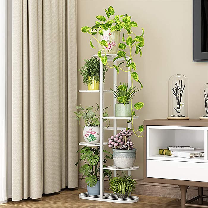 Metal 6 Tier 7 Potted Plant Stand Multiple Flower Pot Holder Shelves Planter Rack Storage Organizer Display for Indoor Outdoor Garden Balcony, Overall Size: 42×17.5 Inch (Upgrade)