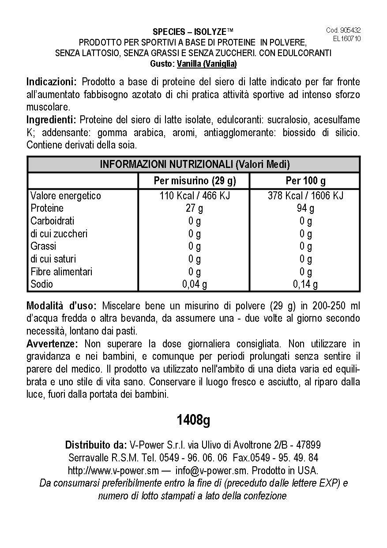 Species Nutrition Isolyze Ice Cream Supplement, Vanilla, 3.1 Pound by Species Nutrition