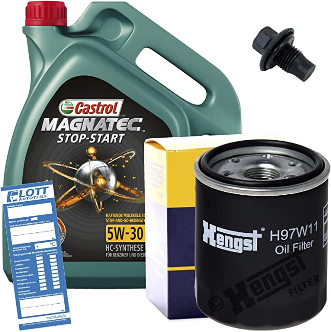 Ölwechsel Set Inspektion 5l 5w 30 Öl Motoröl Magnatec Start Stop C3 Hengst Ölfilter Ablassschraube Verschlussschraube Auto