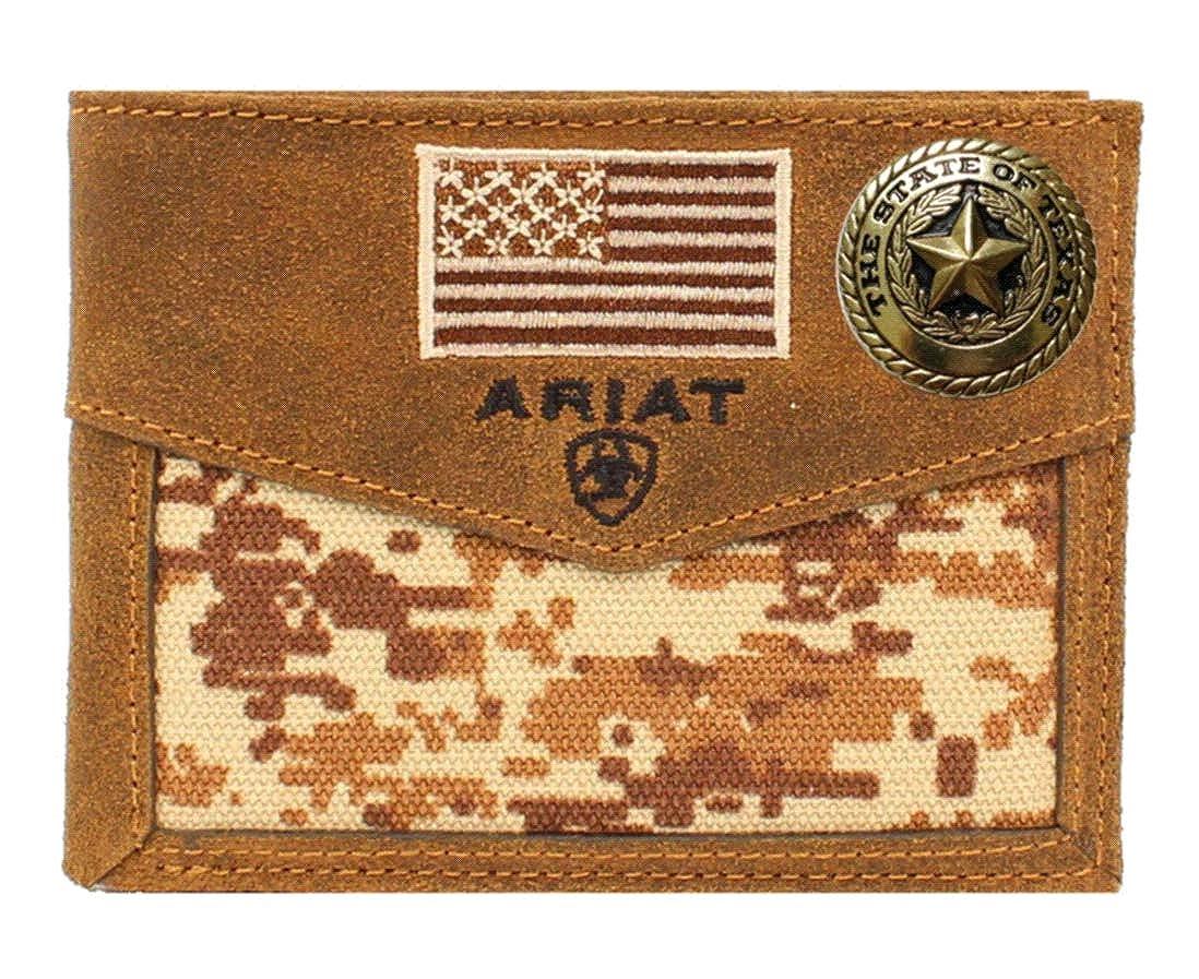 Custom Texas Gold Seal and American Flag Ariat Brown Digital Camo Bi-fold wallet