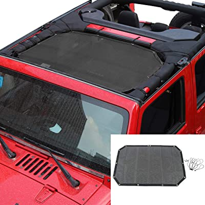 RT-TCZ Sunshade Mesh Top Cover Provides UV Sun Protection for Jeep Wrangler JK JKU 2007-2020 (Black 2&4 Doors): Automotive