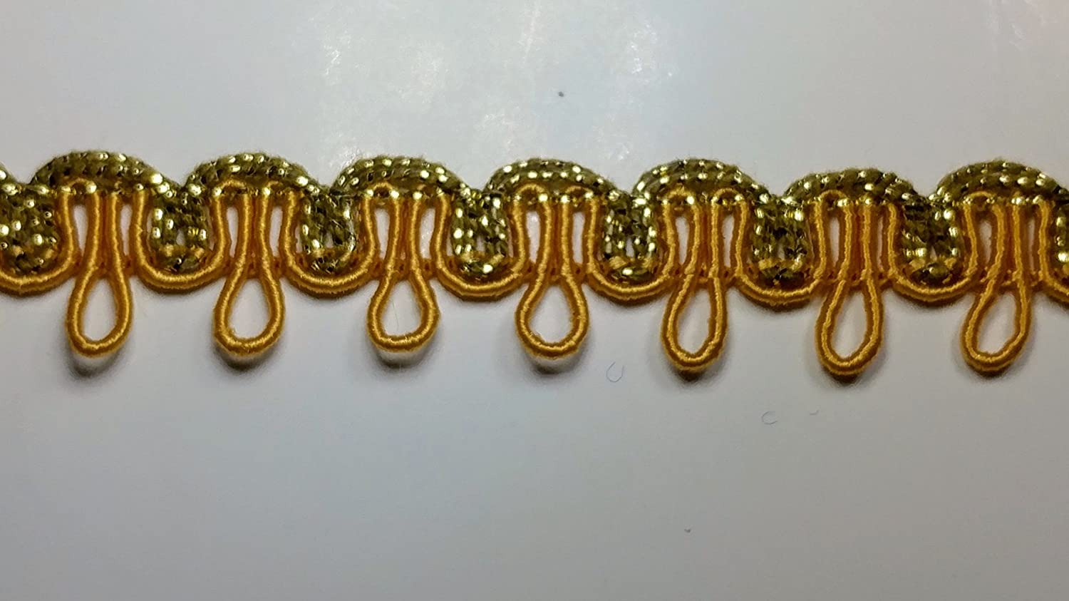 Many Colors Available! GOLD 5//8 Metallic Gimp Knit Loop Trim 20 Continuous Yards