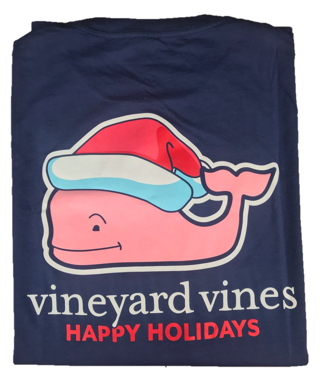 Vineyard Vinesメンズ半袖City Whale Teeシャツ B077P66XZF M|Santa Hat Whale Navy Santa Hat Whale Navy M