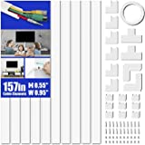 Cord Cover Raceway Kit, 157in Cable Cover Channel, Paintable Cord Concealer System Cable Hider, Cord Wires, Hiding Wall Mount