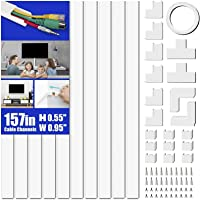 Cord Cover Raceway Kit, 157in Cable Cover Channel, Paintable Cord Concealer System Cable Hider, Cord Wires, Hiding Wall…