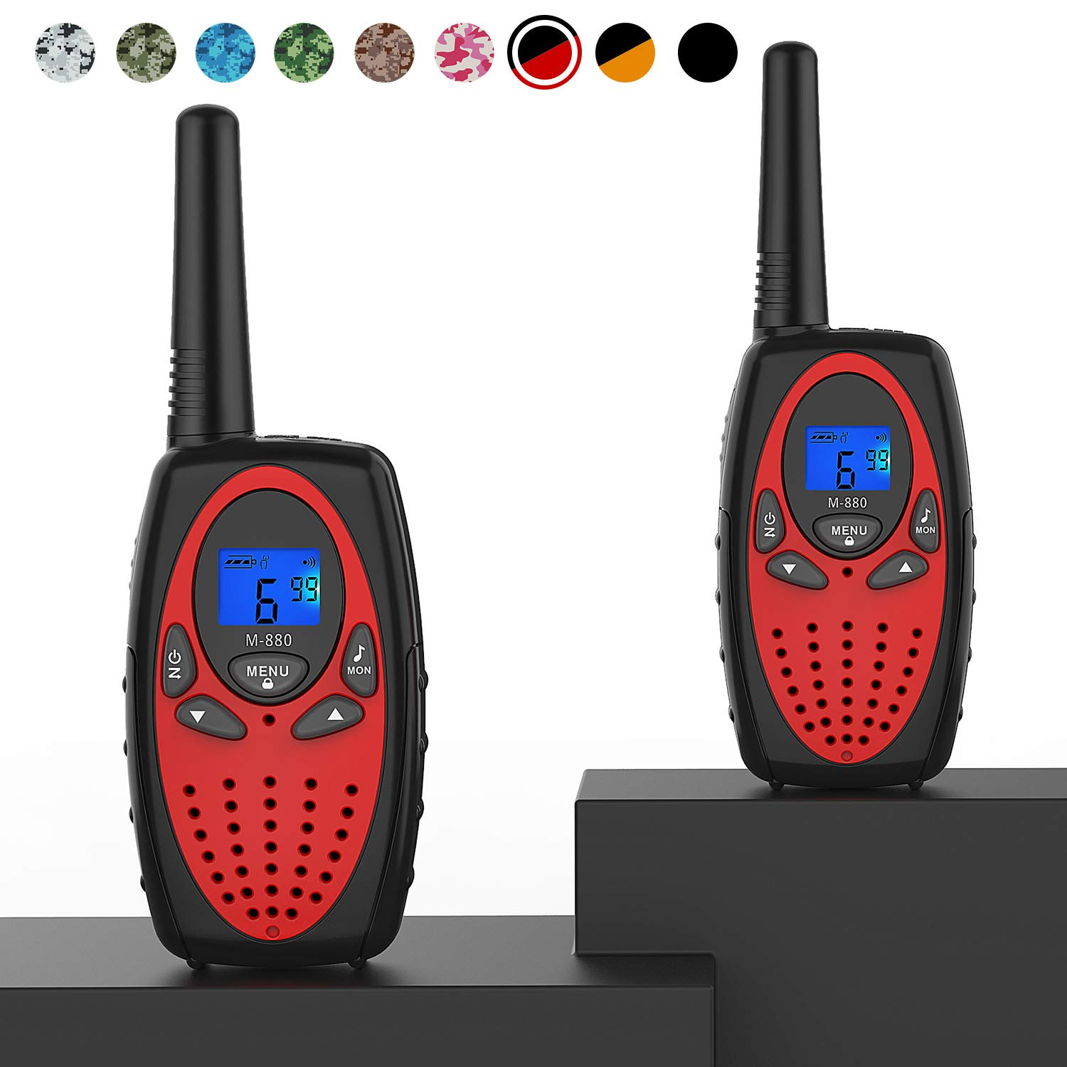 Walkie Talkies Long Range, Topsung M880 FRS Two Way Radio for Adults with Mic LCD Screen/Durable Wakie-Talkies with Noise Cancelling for Men Women Outdoor Adventures Cruise Ship (Red 2 in 1)