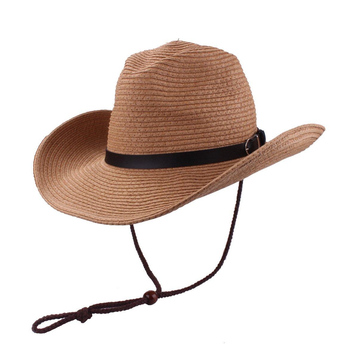 Men's Cowboy Hat Straw Sunhat Wide Brim Western Cowgirl Beach Sun Caps
