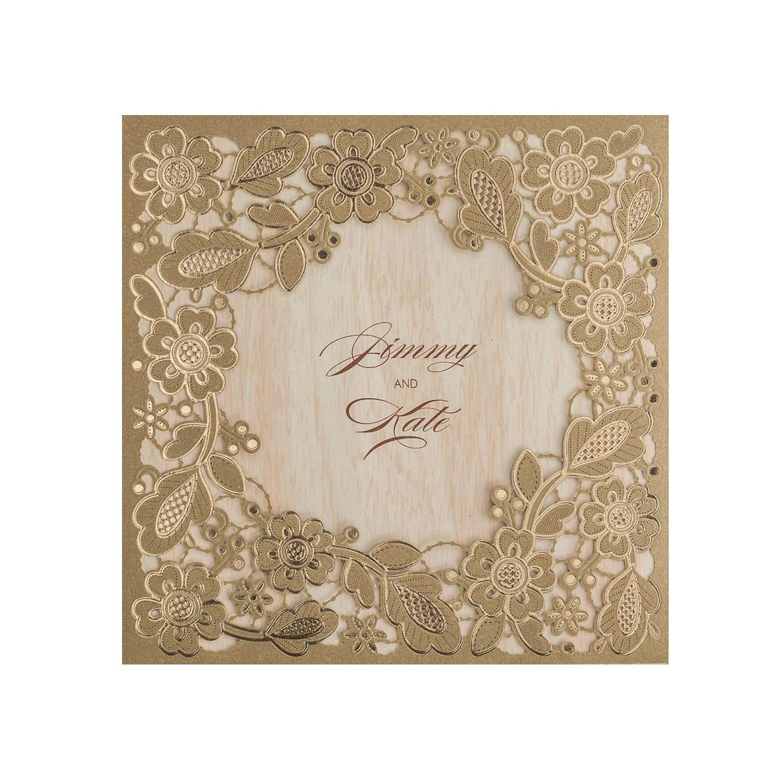 WISHMADE 20 Gold Invitations Cards Laser Cut Floral Wedding Invites Set with envelopes, Stickers
