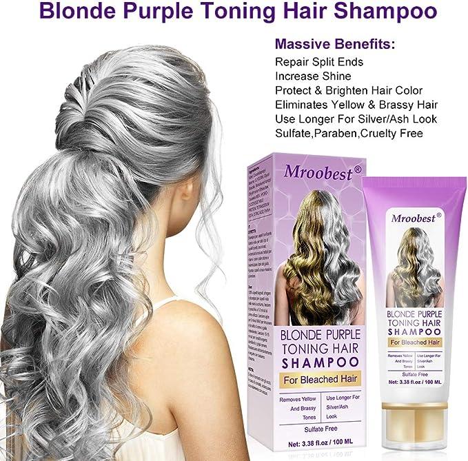 Champú Purpura,Purple Shampoo,No Yellow Shampoo, Brassy, humectante capilar con tratamiento de color plateado, cabello decolorado y resaltado, tónico ...
