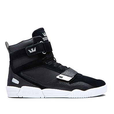 promo code f075e b835c Supra Footwear - Breaker High Top Skate Shoes, Black Silver-White, 6.5
