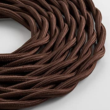 Klartext – Cable textil trenzado luminoso TV/LAN, marrón, 10 ...