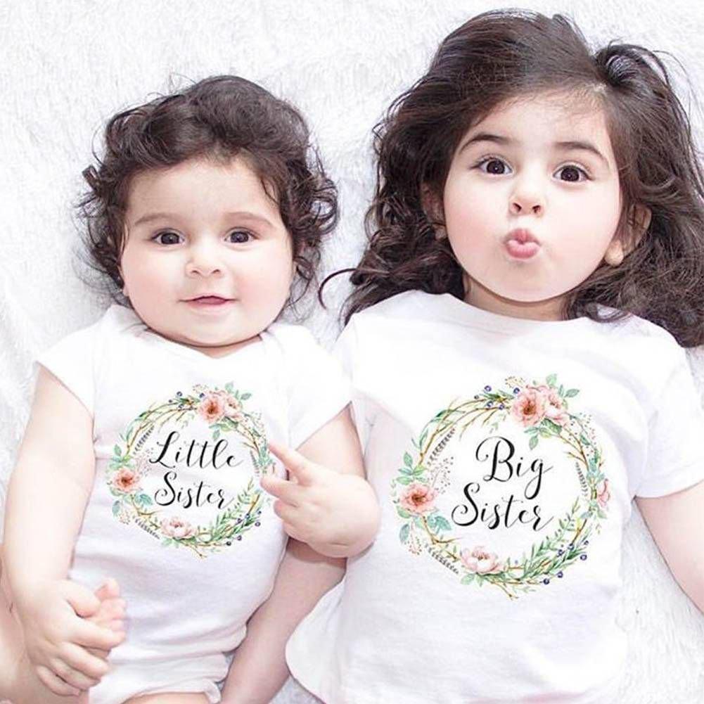 BOBORA Body Mamelucos de Manga Corta para Ni/ñas Beb/és Hermanas Haciendo Juego con la Ropa Camiseta de Manga Corta para Ni/ñas
