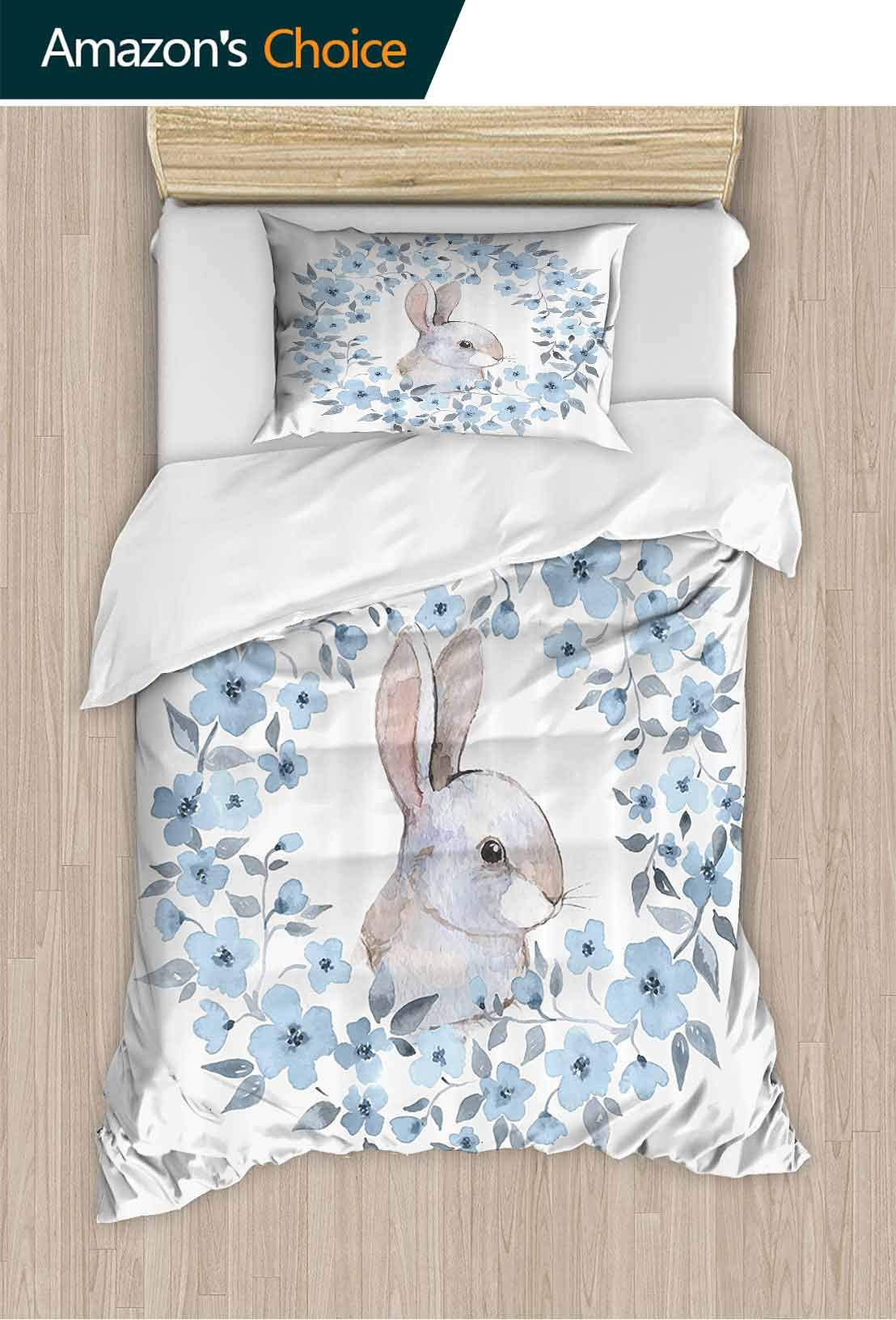 PRUNUSHOME Ultra-Soft Polyester Bed Sheets Decor Bunny Rabbit Portrait in Floral Wreath Country Hypoallergenic California King